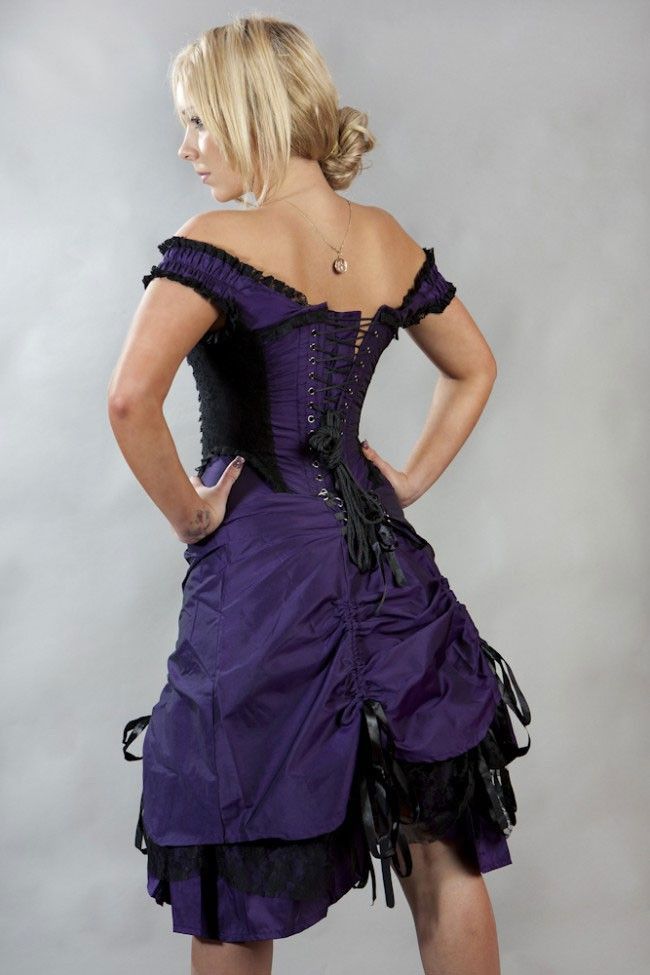 93d9680152 Dita Corset Dress In Purple Taffeta   Black Lace